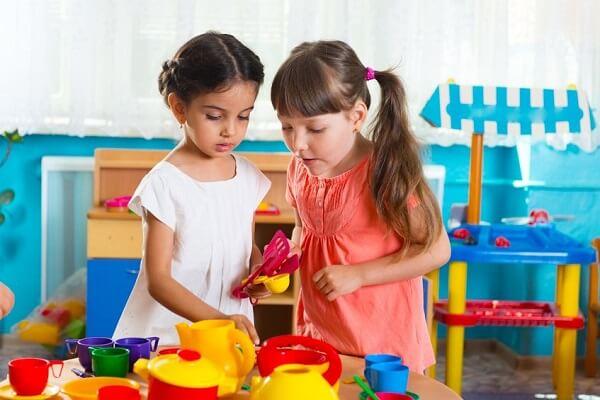 preschool girls playing